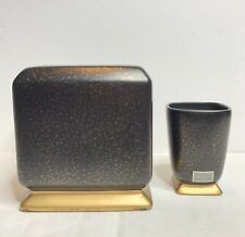 Croscill Home Iridescense Black And Gold Tissue Cover And Cup