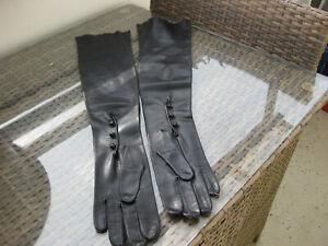 -lange Leder-Handschuhe Lederhandschuhe Ärmel schwarz -neuwertig-Gr S-M