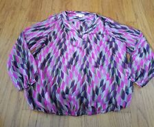 Liz Claiborne Women's Sheer Multi-Colored Dressy Blouse Top Size 1x