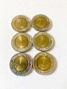 LOT OF (6) CIRCULATED EGYPTIAN POUNDS, SUIZ CANAL , ROLL COINS BI-METALLIC