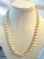 """MIRIAM HASKELL Large Vintage Creamy Baroque Pearl Necklace 24"""""""