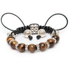 Unique Tiger Eye Gemstone Silver Shamballa Bracelet Capricorn Leo Hand Made UK