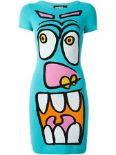 JEREMY SCOTT TURQUOISE CARTOON FACE BODYCON DRESS MADE IN ITALY SIZE UK8 (IT 40)