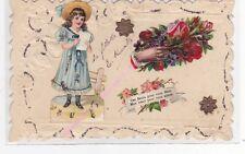CPA FANTAISIE DECOUPIS Fillette robe bleue main bouquet de fleurs paillettes