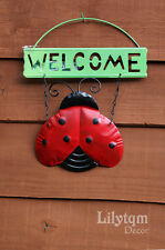 Garden Hanging Welcome Sign Wall Plaque Fence Decorations Ladybird Butterfly Frog