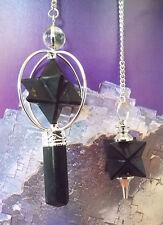 2 Black Tourmaline Crystal Spinning Merkaba Star Dowsing Pendulum, With Pouch