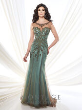 NEW MONTAGE Mon Cheri 215911 Formal Evening BRONZE AQUA GREEN GOWN Size 10