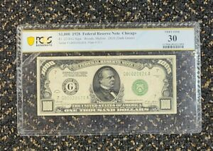 1928 $1000 DOLLAR BILL NOTE DARK GREEN SEAL CHICAGO PCGS VF30 EXTREMELY LOW #