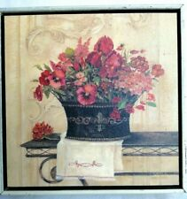 Kathryn White Linen and Pansies Wedge Frame Pic Wooden Canvas Flowers