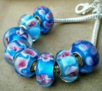 8P Sky Blue Pink Lampwork Flowers Single Core European Murano Glass Beads Charms