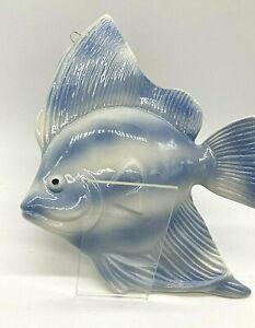 Large Vintage MCM Mid Century Blue Ceramic Fish Wall Plaque Decor Hanging NICE!