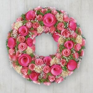 Stunning Carved Wood Pink Roses Floral Home Door Wreath