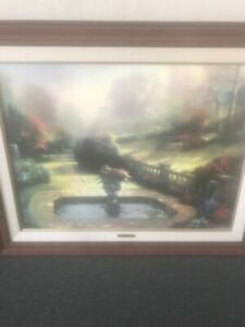 "Thomas Kinkade ""Beyond Autumns Gate"" S/N Framed Canvas Painting"