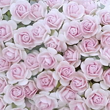 100 Shabby Pink Mini Paper Flower Roses Wedding headpiece basket art craf R2-32