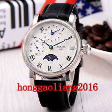 43mm Parnis hand winding mechanical men watch Dual time zone GMT white dial P120