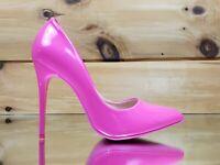 "Fabio Neon Pink Patent 4.5"" High Heel Shoes Pointy Toe Pump 6-10"