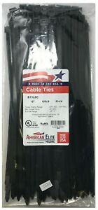 """(500) Black 12"""" Inch Nylon Heavy Duty Cable Wire Wrap Zip Ties 120 LBS USA MADE"""