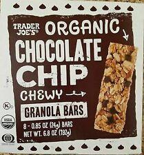 Trader Joe's Organic Chocolate Chip Chewy Granola Bars 6.8 oz. (Pack of 4 box's