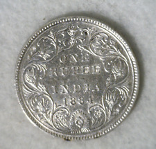 BRITISH INDIA 1 RUPEE 1884 SILVER COIN ( stock# 545)