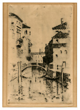 An Antique Print Intalio Etching Of Venice Signed T.M. Wendel