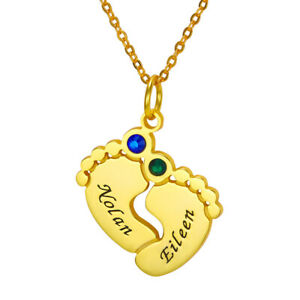 Personalized 925 Sterling Silver Baby Name Feet Necklace  Baby Shower Gift