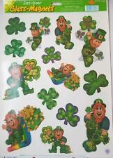 Vintage Window Clings Leprechaun Gold Beistle Glass Magnets Patty St Patrick's