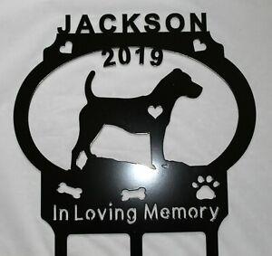 JACK RUSSELL Dog Memorial Pet Grave Marker Cemetery Personalize Plasma Metal Art