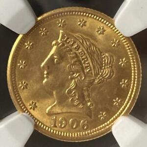 1906 Gold $2.5 Liberty Head Quarter Eagle NGC MS65