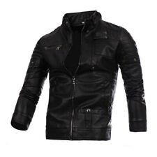 Men PU Leather Jacket Biker Black Motorcycle Slim Zipper Coat Outwear Retro
