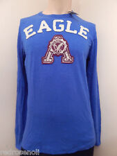 American Eagle Mens Applique Graphic Henley T Shirt Jersey Blue M Great Gift NEW