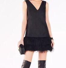 New with tag $398 BCBG MAXAZRIA Jamysen Feather Trim Puckered B1077 Dress Sz 12