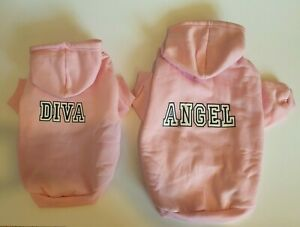 Pink Pet Dog Hoodie Warm Dog Hooded Sweater Jumper Coat Outfit XS-L Sizes