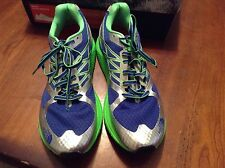 north face men's ultra smooth honor blue/ power green vibram sole running 10