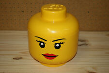 """Official Lego Head Storage Container Girl Woman 6"""" Yellow Bin Box 2010 Retired"""