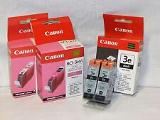 Set Of 5 New Genuine Canon 3-BCl-3eBK Black, & 2-BCl-3eM Magenta Ink Cartridges