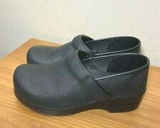 Dansko Professional Stapled Clogs Black Oiled Leather sz 41 Womans 10.5 - 11