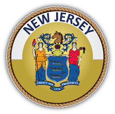 New Jersey USA State Seal Car Bumper Sticker Decal 5'' x 5''