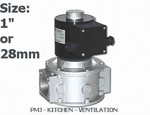"""Gas Solenoid Valve 28mm 1"""" for Gas Interlock System Shut Off Kitchen Canopy"""