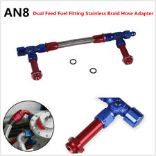 AN8 Dual Feed Fuel Fittings Stainless Braid Hose Adapter For 4150 7/8-20 Thread
