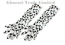 Fancy Dress Dalmatian Elbows Length Gloves White With Black Spotty Dalmation