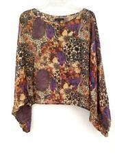 RACHEL ZOE Oversize Sheer Floral Animal Print Peasant Top Dolman 100% Silk Sz 6
