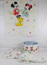 Vtg Dundee Disney Babies Mickey, Minnie Mouse, Pluto Crib Bedding Set - 5 Piece