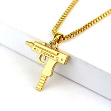 Fashion Machine Gun Mens Gold Plated Silver Pendant Chain Hip Hop Punk Necklace