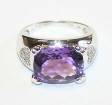 Large Chunky 14ct White Gold Amethyst & Diamond Ring Size N 1/2