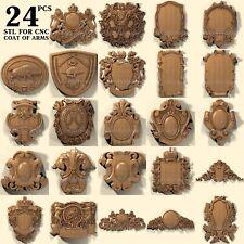 3d stl model cnc router artcam aspire 24 pcs coat of arms collection basrelief