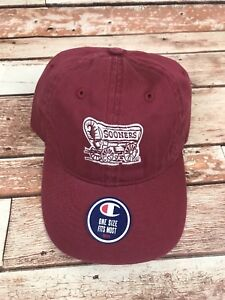 University Of Oklahoma Boomer Sooners YOUTH Maroon Baseball Cap Hat NEW Champion