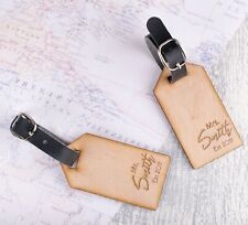 2pcs Personalised Wooden Luggage Tags Mr and Mrs Custom Name Tags