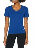 Nike Women's W Nk Infinite Gym Top T-Shirt, Blue, Indigo, Silver Size Medium