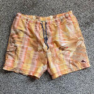 Tommy Bahama Relax Men's Swim Trunks Orange Plaid Size XL