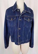 DKNY Jeans Classic Trucker Denim Blue Jean Style Jacket Mens M Leather Patch